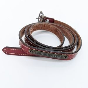 Levi's harness leather skinny small buckle belt